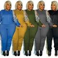 Plus Größe Herbst Kleidung XL-5XL 2 Stück Set Frauen Quaste Sweatsuits Stretch Solide Jogger Outfit Trainingsanzug Großhandel Dropshipping