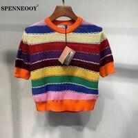 SPENNEOOY Designer Custom Runway Summer Female Fashion Casual T Shirt Ladies Short Sleeve Multicolor Knitting Tees Tops 2020