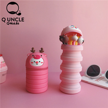 Q UNCLE Simple Cute Pink Pig Pattern Silicone Stationery Holder Cartoon Multifunction Desktop Storage Office Supplies Pen Holder simple finger print pattern silicone bookmark deep pink
