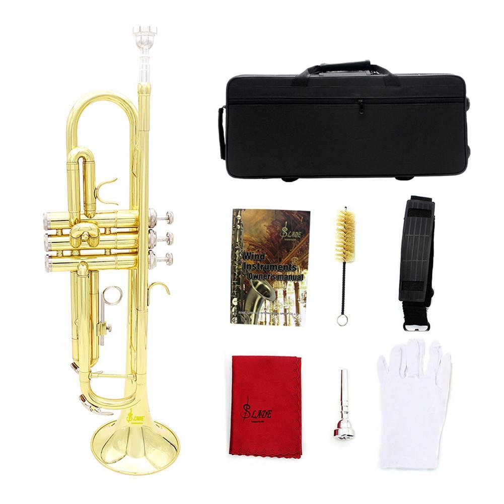 Trompette professionnelle en laiton Bb ton Instrument de musique en laiton avec étui de transport + embout + gants + brosses + chiffon de nettoyage