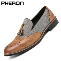 Semi-formale Leder Schuhe für Männer Quaste Casual Brogue Wohnungen Geschnitzte England Männer Kleid Schuhe Männer Müßiggänger Zapatos Hombre