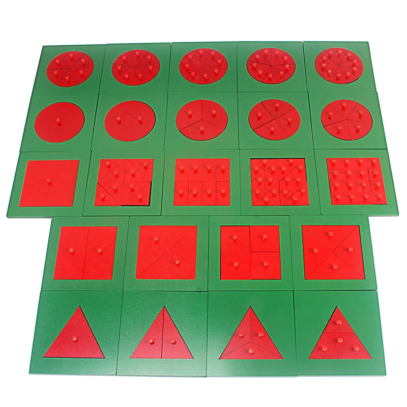 Monterssori Mathematics Decompose Fraction Circle Square Triangle Solid Wood Monterssori Materials Toys For Children Learning