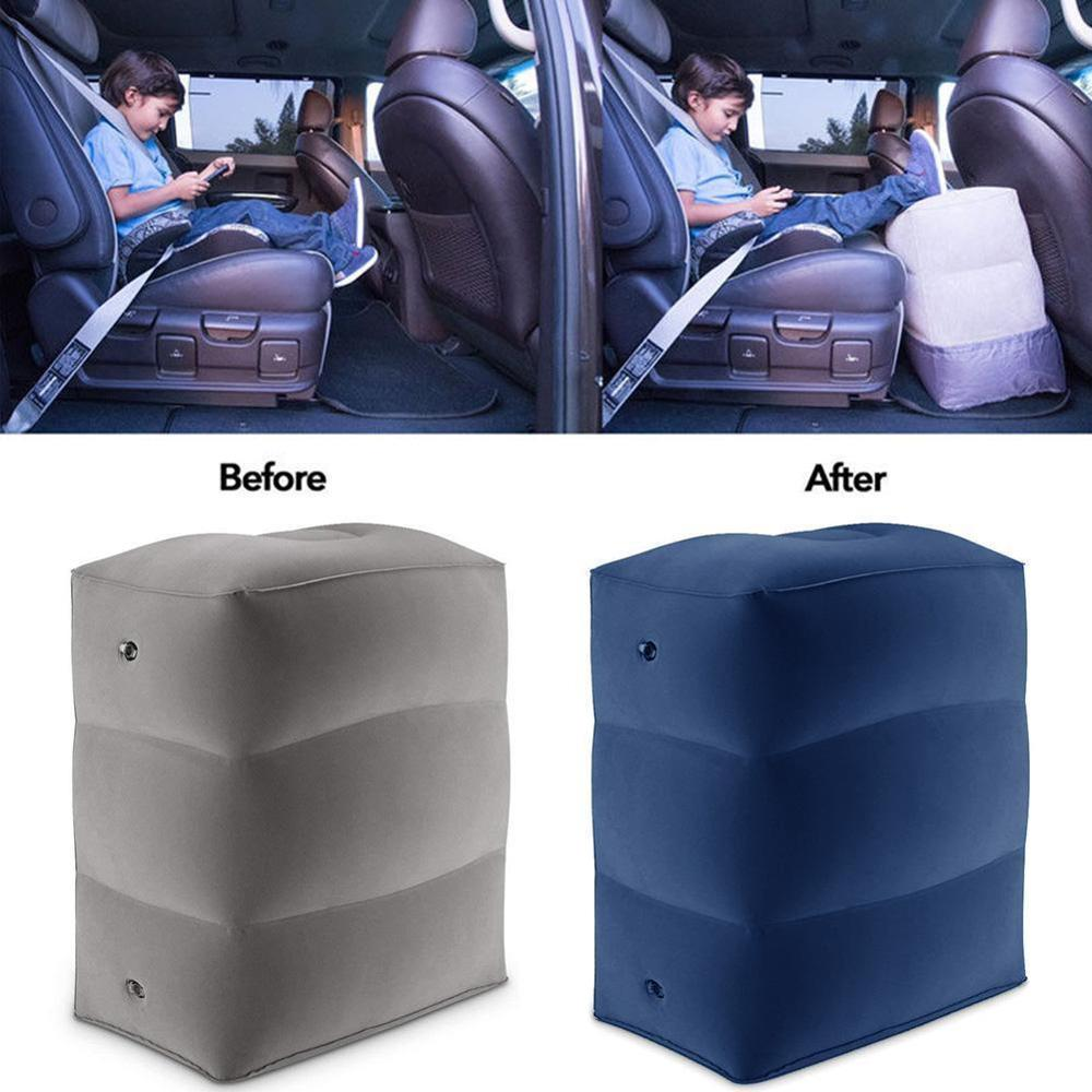 2 Gas Nozzle 3 Layers Inflatable Travel Foot Rest Pillow 385g Airplane Train Car Footrest Cushion With Storage Bag & Dust image