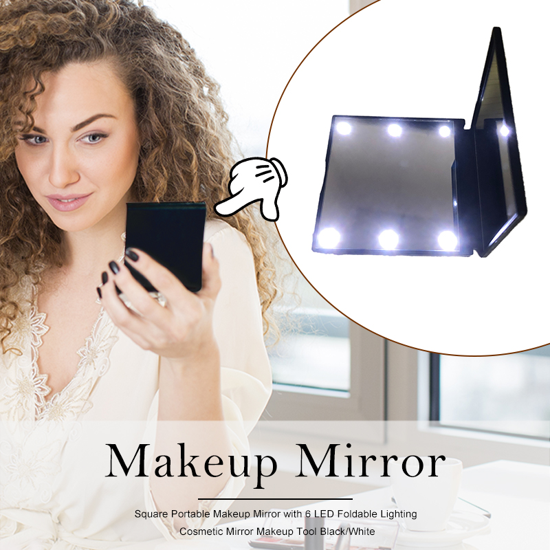 Square Portable Makeup Mirror With 6 LED Foldable Lighting Cosmetic Mirror Makeup Tool Black/White