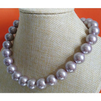 12mm natural freshwaters lavender pearl necklace 18inch 925silver