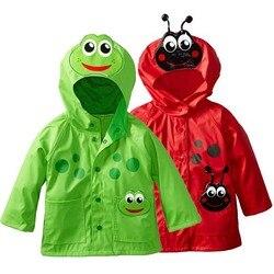 Casaco de chuva para crianças, sapo verde para meninas, 2 3 4 5 6 y, bonito com capuz, à prova d'água jaqueta trincheira menino à prova de vento