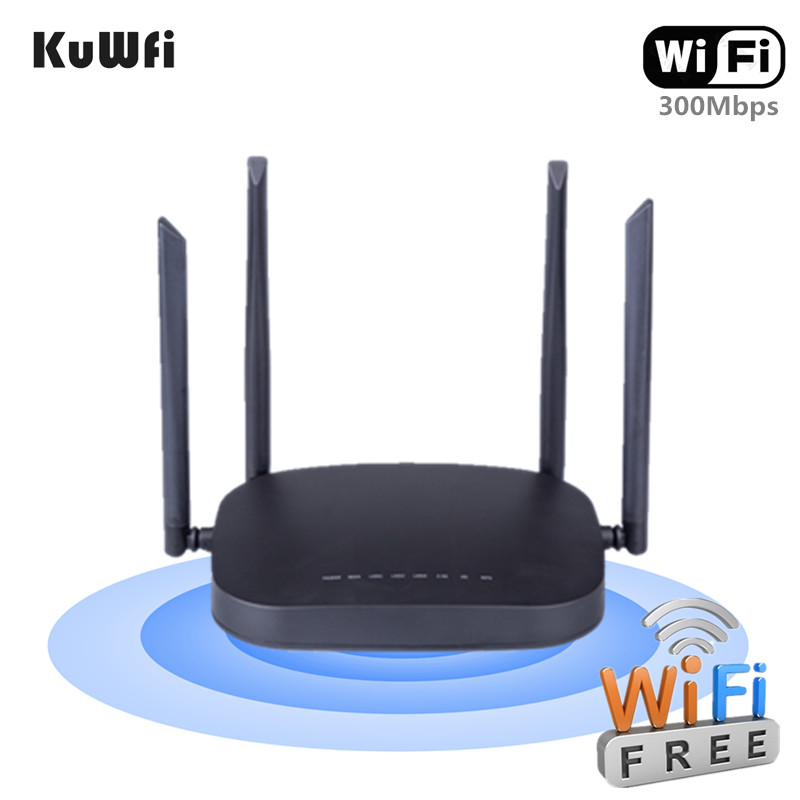 KuWFi Wireless 4G CPE Router Unlocked 4G SIM Wifi Router With RJ45 Port CAT4 150Mbps Mobile Wifi Hotspot With External Antenna