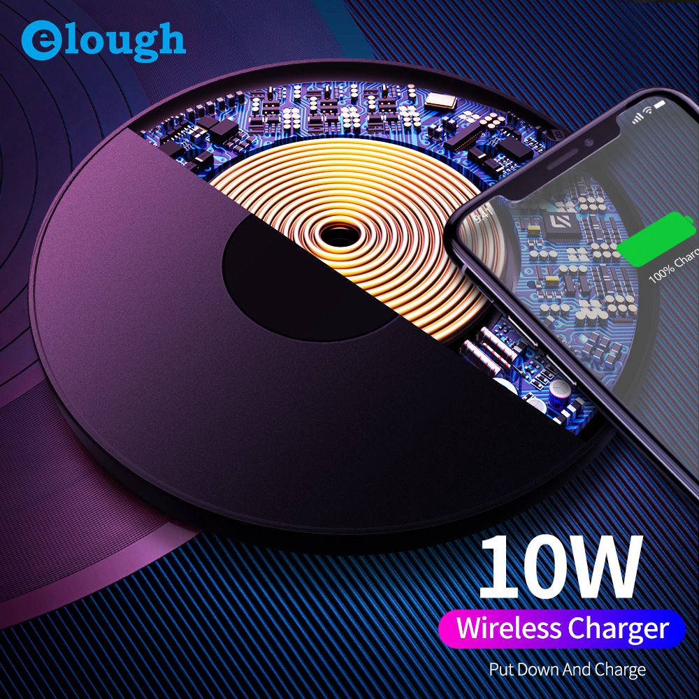 Elough 10W Qi Wireless Charger For IPhone 11Pro Xs Max X Xr 8 Fast Wireless Charging Pad For Samsung Galaxy S9 S10 20 Xiaomi Mi9