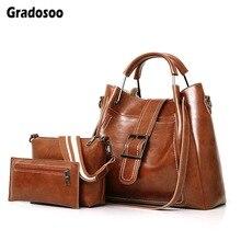 Gradosoo 3pcs Luxury Handbags Women Bags Designer Shoulder Female Messenger Fashion Tote Crossbody Bag Purse PU LBF624