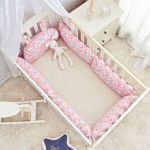 ins Nordic style cylindrical baby child bed around four seasons cotton crash fence stitching bed removable and washable