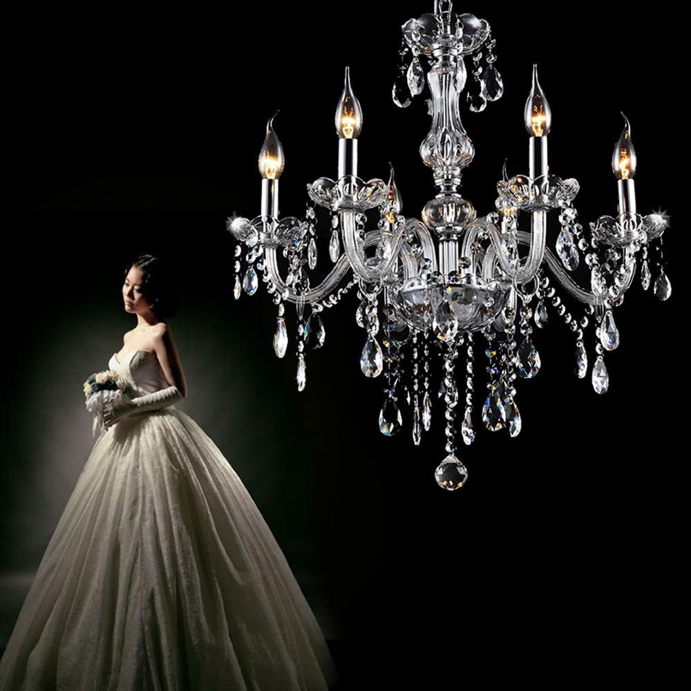 Yonntech Classic 6 Lights Tassels Chandelier Glass Crystal Ceiling Light Lamp Lighting
