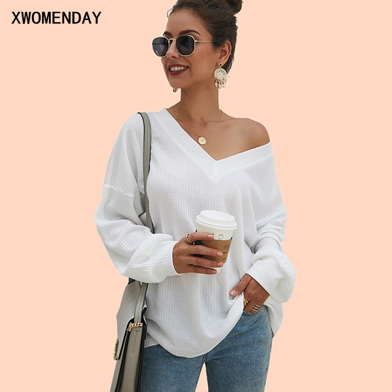 Autumn Winter Casual Loose Clothing Knitwear Female 2019 Sweaters Women V Neck Long Sleeve Fashion Ladies Pullover Tops