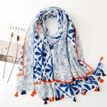 2020 Fashion Cotton Ombre Flower Print Tassel Scarves Shawls Long Lady Trendy Fl