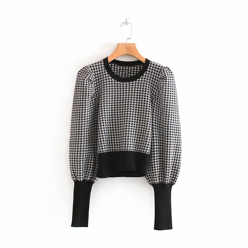 2019 New Women Vintage Houndstooth Pattern Puff Sleeve Casual Sweater Ladies Basic O Neck Knitted Pullover Autumn Chic Tops S163