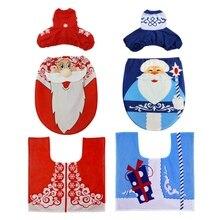 Рождество 3 шт. нескользящие для ванной комнаты ноги домашний коврик Санта Клаус крышка унитаза колодки сиденья заклепки декоративный Декор