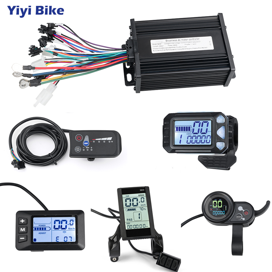 Electric Bike Controller 48V 36V 500W E Bike LCD/LED Display Speed Controller For Electric Scooter Motor Kit Electric Bicycle