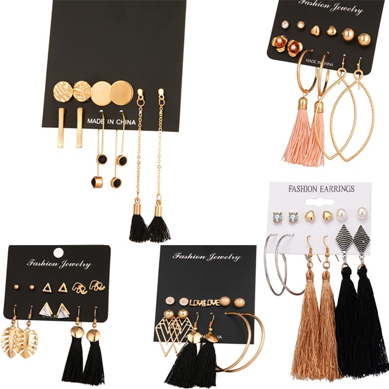 Vienkim Rose Gold Color Long Tassel Stud Earrings Set Fashion Round Irregular Stainless Steel Earrings For Women Jewelry Gift image