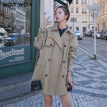 WOTWOY Autumn Safari Style Casual Women Trench Coat Raglan sleeve Double Breasted Belt Pockets Trench Turn Down Collar Top Women цены