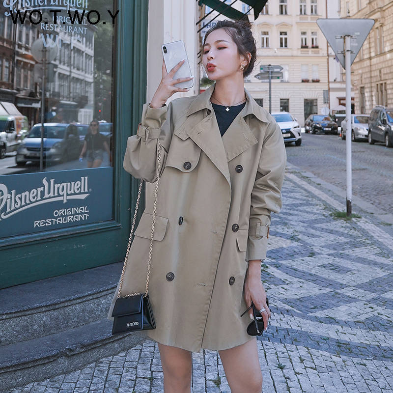 WOTWOY Autumn Safari Style Casual Women   Trench   Coat Raglan sleeve Double Breasted Belt Pockets   Trench   Turn Down Collar Top Women