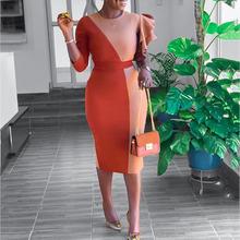 Kontrastowy kolor wzburzyć kobiety sukienka biurowa Patchwork elegancka sukienka imprezowa koktajlowa afrykańskie damskie Bodycon Vestidos de fiesta tanie tanio tanpell Scoop Trzy czwarte NONE Tea-długość Beach Sukienki koktajlowe Ruffles REGULAR Cocktail party JERSEY 16633396