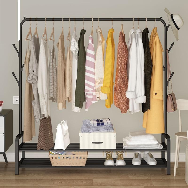 Folding Floor Clothes-horse Clothes Hanger Coat Rack Floor Hanger Storage Wardrobe Clothing Drying Racks