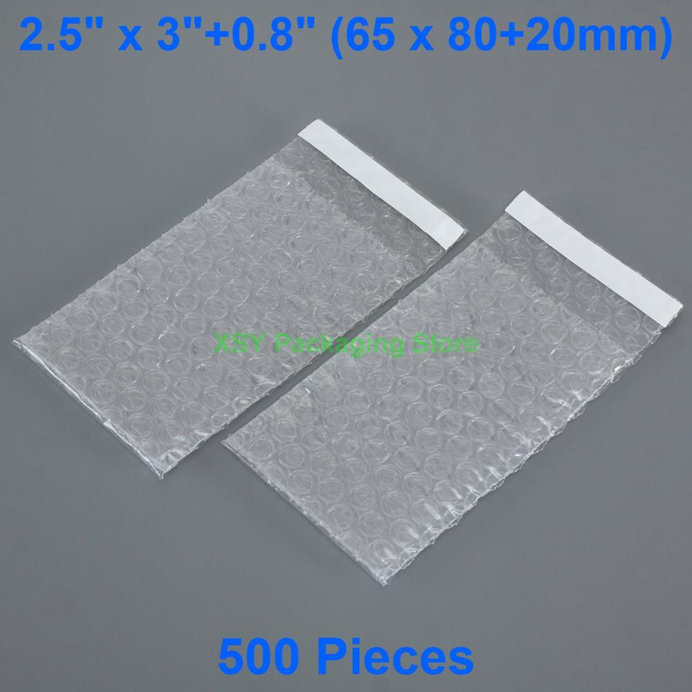 """500 штук 2,5 """"x 3"""" + 0,8 """"(65x80 + 20 мм) самозапечатывающийся прозрачный пузырьковый пакет малого размера, пластиковый упаковочный конверт"""