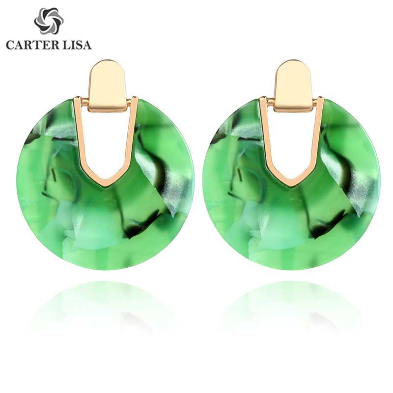 CARTER LISA Round Shell Acrylic Geometric Statement Stud Earrings Women Unique Charm Beach Jewelry 2019 New Pendientes Wholesale