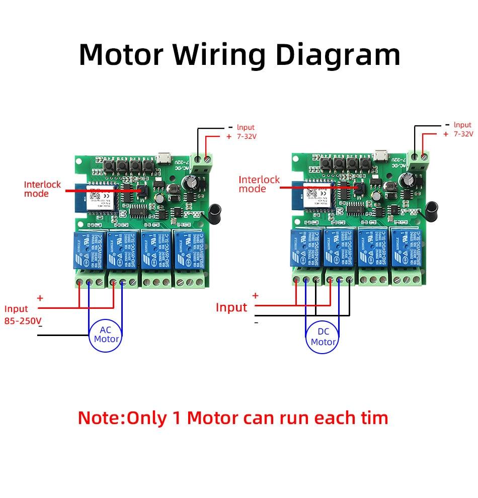 Wifi Smart Light Switch,Wifi Module,4CH DC 5/12/32V RF433 Receive 10A Relays Work with Alexa Google Assistant,Tuya Smart Life