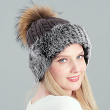Зимние шапки из акрилового и натурального кроличьего меха для