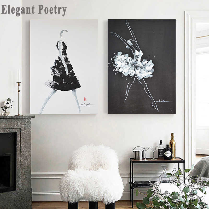 Black And White Fashion Ballet Abstract Woman Poster Canvas Wall Art Print Painting  Decorative Picture Modern Decor