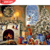 HUACAN Paint By Number House DIY Pictures By Numbers Christmas Kits Hand Painted Painting Art Drawing On Canvas Gift Home Decor
