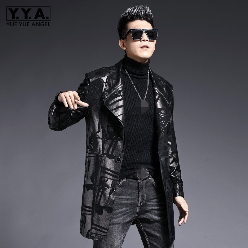Luxury Genuine Leather Windbreakers Men Brand Fashion Single Breasted Sheepskin Medium Long Coat Business Outerwear Plus Size