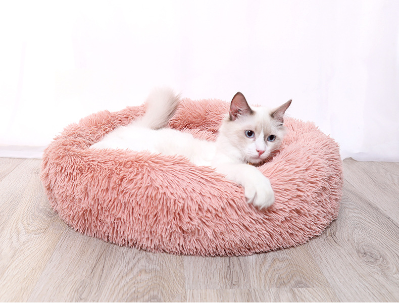 Round and Soft Pet Bed for Dogs and Cats with Anti Slip Bottom Design for Comfortable Sleep of Pets Washable by Machine or Hand 1