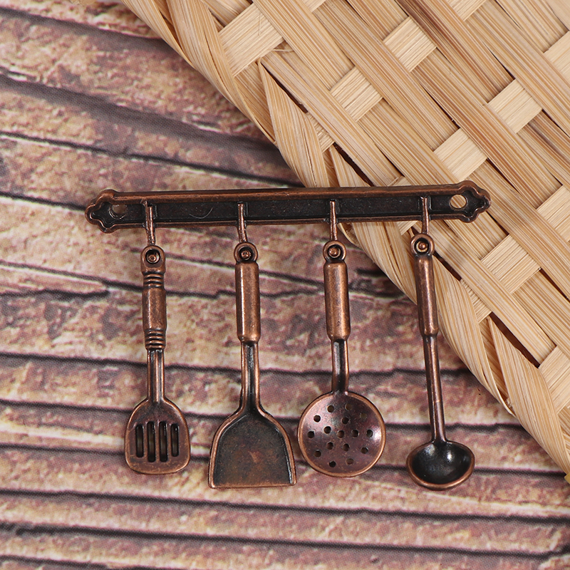 1/12 Dollhouse Miniature Accessories Mini Shovel Soup Spoon Storage Holder Simulation Furniture Kitchen Utensils For Decoration