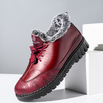 Hot Fur Shoes Woman Snow Boots2020 Winter Shoes Women PU Leather Women's Boots Buckle Waterproof Shoes Warm Ladies Shoes Slip On цена 2017