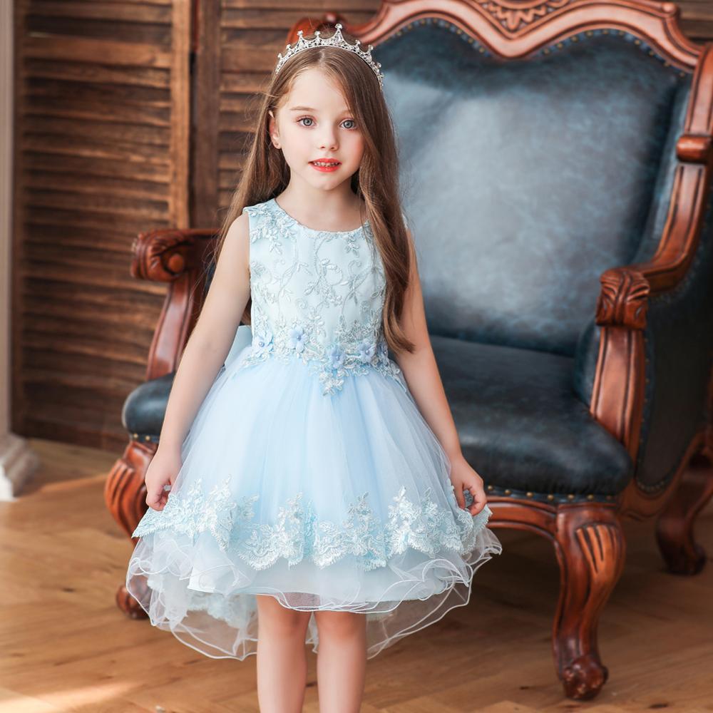 New Lace Wedding Girls Dress Sleeveless Princess Birthday Party Kids Clothes