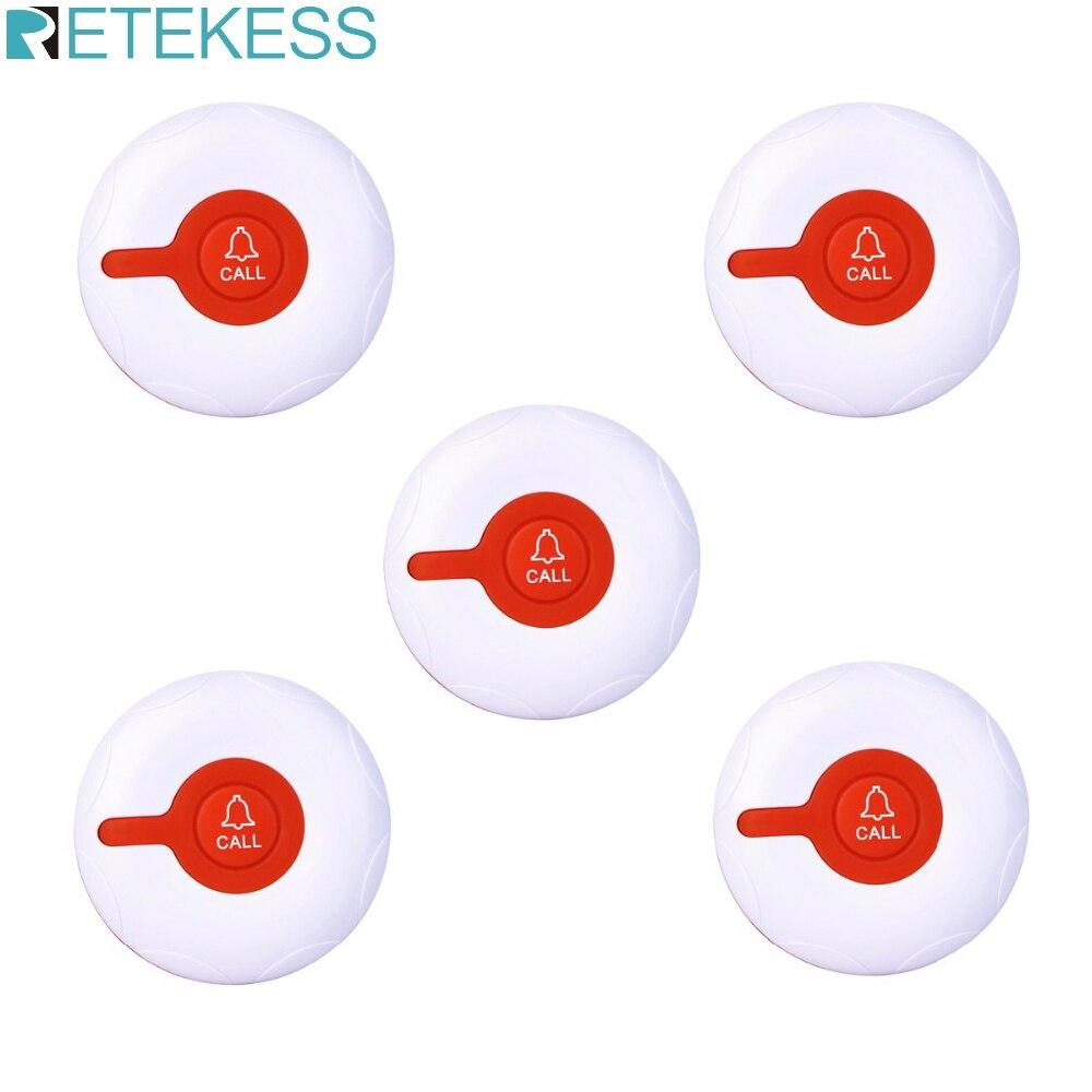 Retekess 5pcs TD009 무선 방수 호출 버튼 스파링 호텔 레스토랑 호출 시스템 송신기 버튼 호출 호출기 433MHz