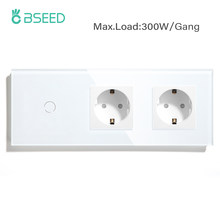 BSEED EU Standard 1/2/3Gang 1Way Touch Switch With Double EU Wall Socket Black White Golden Glass Led Light Switch 300W/Gang