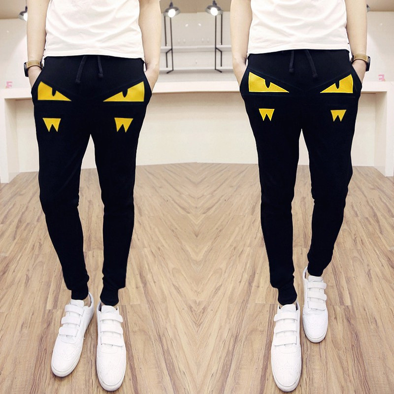 Special Offer Summer Korean-style Slim Fit Skinny Pants Little Monster Printed Harem Loose-Fit Sports MEN'S Trousers