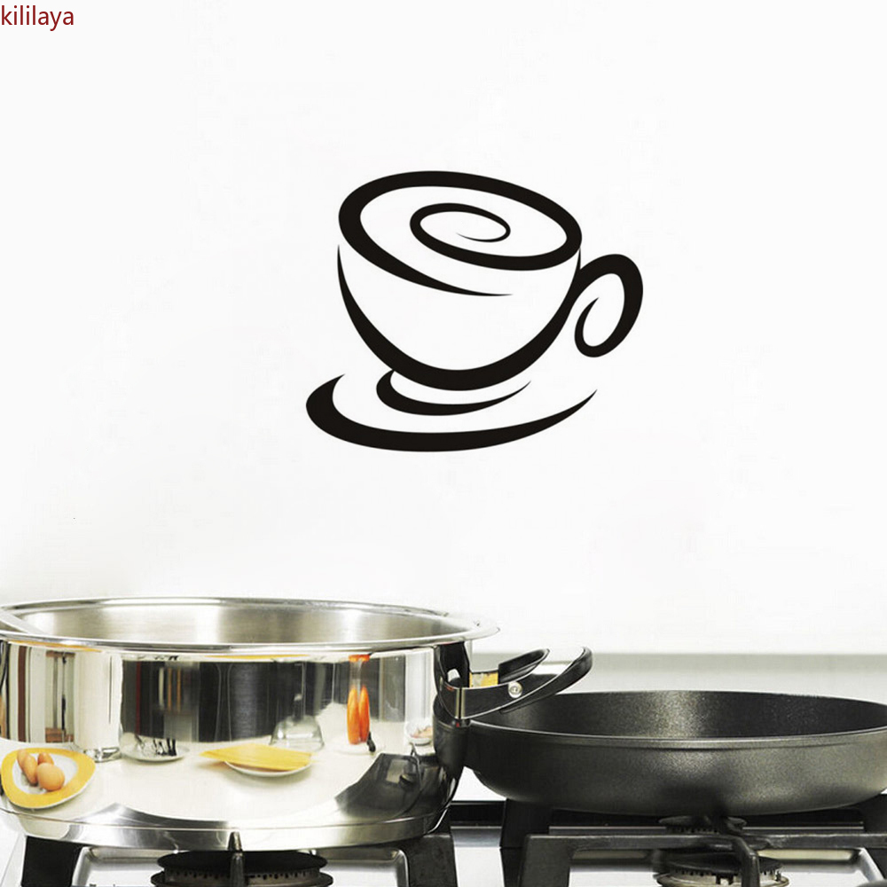 Kililaya Stickers Cuisine Coffee Cup Vinyl Wall Sticker Mural Wall