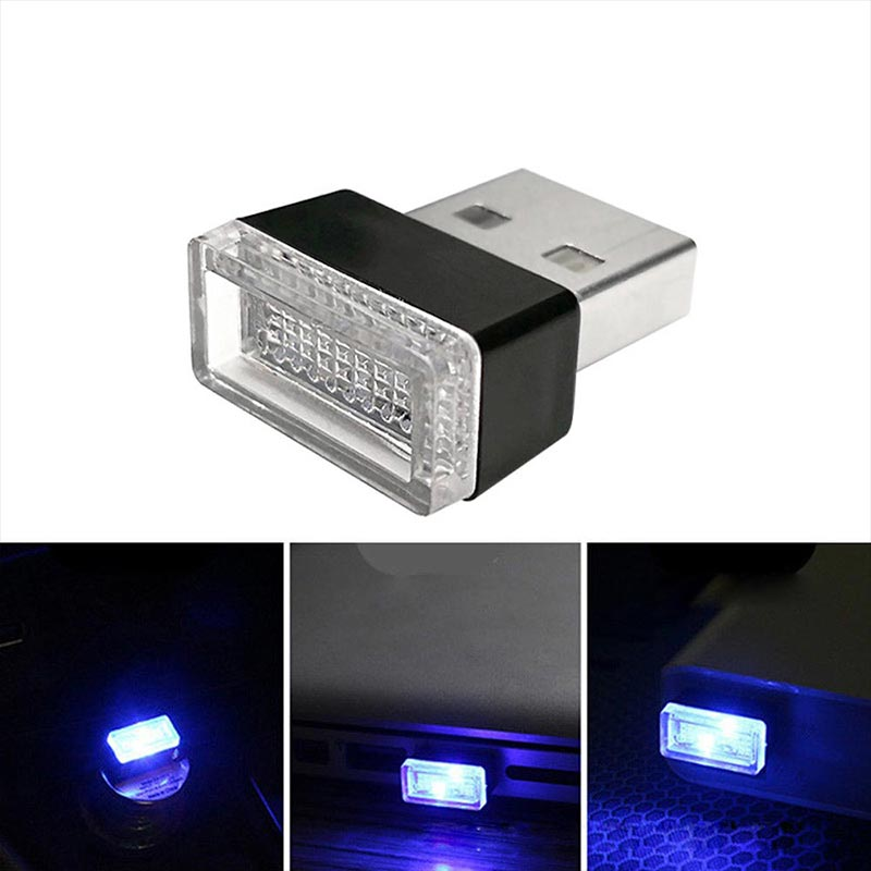 Car USB LED Atmosphere Lights Decorative Lamp Emergency Lighting Universal PC Portable Plug And Play Red/Blue/White