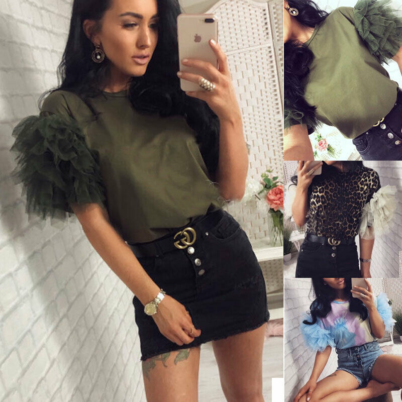 Summer Autumn Fashion Womens Tulle Ruffle Short Sleeve Shirt Ladies Loose Casual Blouse Top Blusas Mujer De Moda 2019