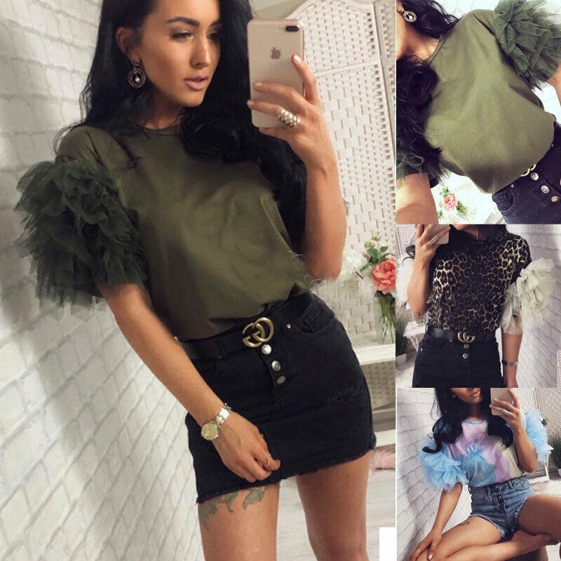 Summer Autumn Fashion Womens Tulle Ruffle Short Sleeve Shirt Ladies Loose Casual Blouse Top Blusas Mujer De Moda 2019