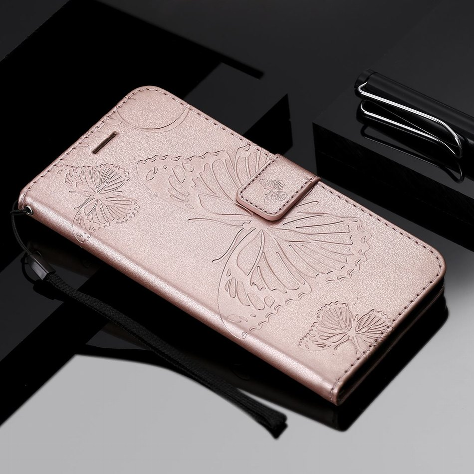 Solid Color Leather Phone Wallet Butterfly For <font><b>OPPO</b></font> A1K <font><b>A57</b></font> A59 A73 A83 Girl Flip Phone <font><b>Case</b></font> Bags Magnetic Lady Coque Capa O06F image