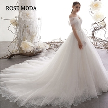 Розовое Роскошное Свадебное бальное платье принцессы с открытыми плечами и кружевом из тюля, свадебное платье с длинным шлейфом на заказ