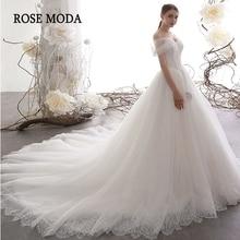עלה Moda יוקרה כבוי כתף נסיכת חתונת כדור שמלה עם תחרה טול חתונת שמלה ארוך רכבת אישית לעשות