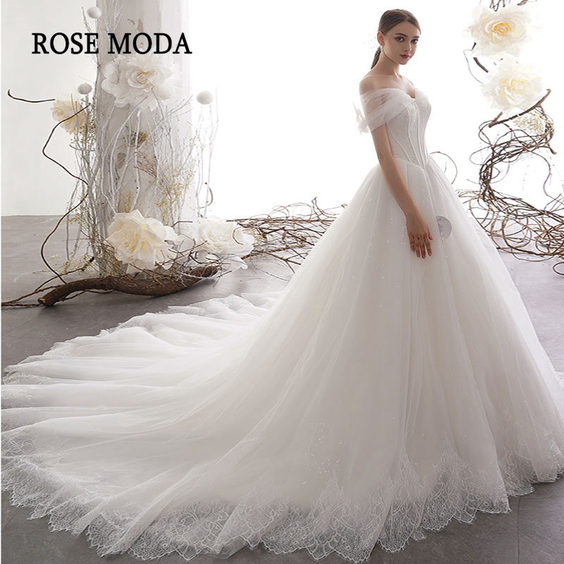 Rose Moda Luxury Off The Shoulder Princess Wedding Ball Gown With Lace Tulle Wedding Dress Long Train Custom Make