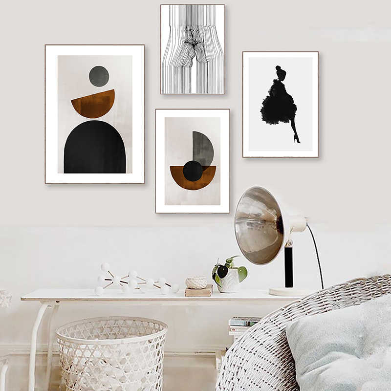 Line Drawing Kiss Face Absract Wall Art Canvas Poster Print Modern Home Decor
