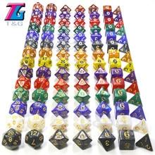 Nuevo 7 pzas/lote juego de dados de alta calidad Multi-cara con efecto mármol y transparente D4 D6 D8 D10 D00-09 D12 D20 DnD Rpg jabalí juego