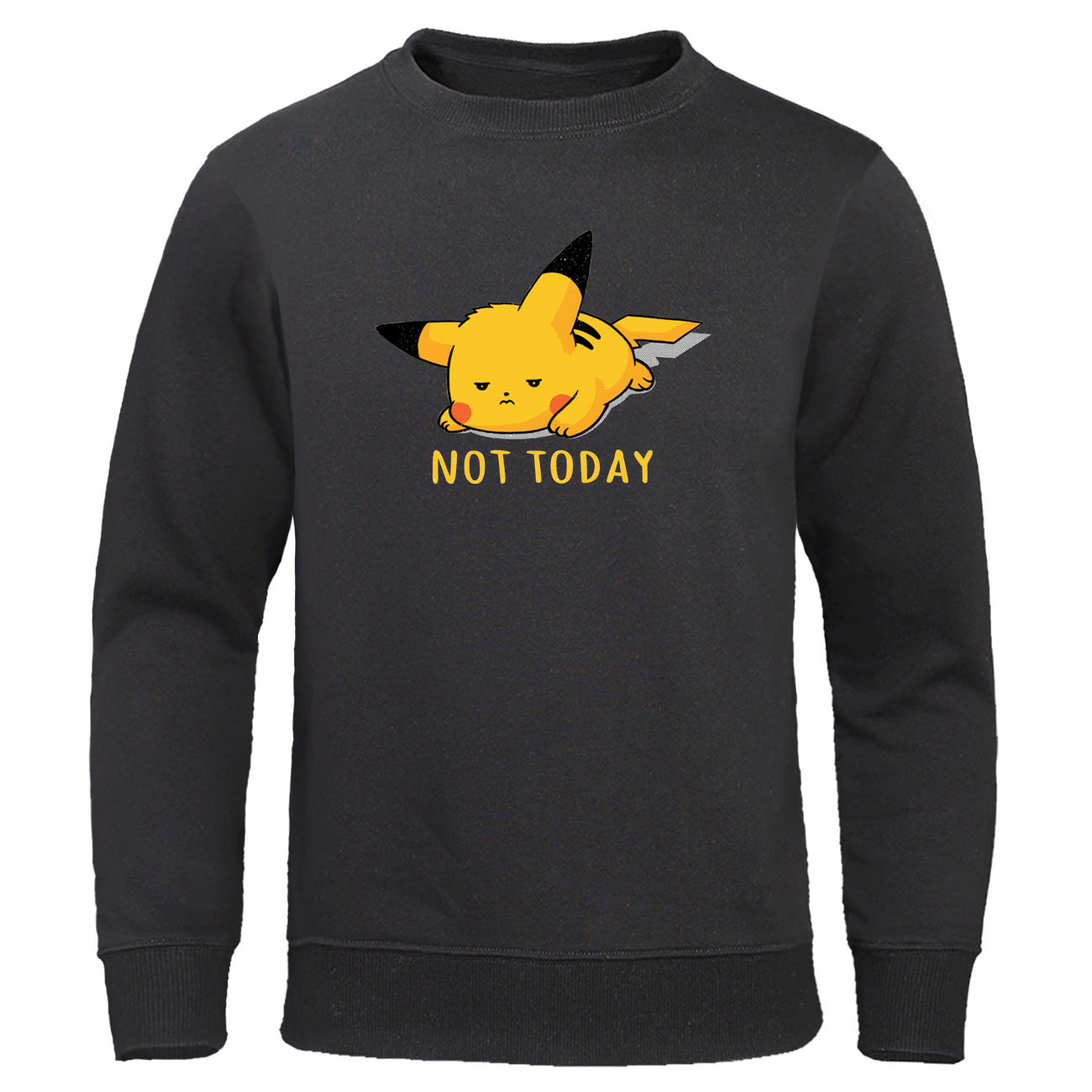 Cute Lazy Pikachu Men Sweatshirts NOT TODAY Print Men's Clothing Pokemon Gaming Printed Mens Hoodie Sweatshirt Fleece Streetwear